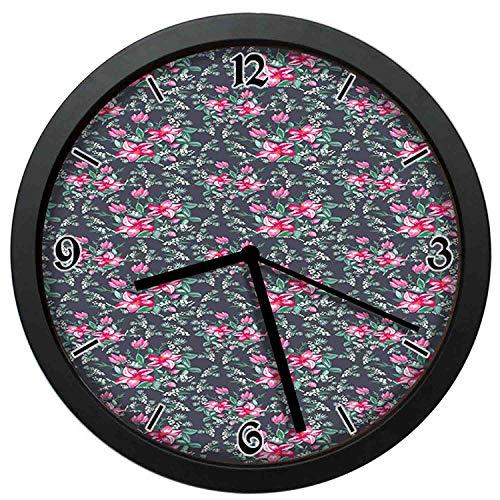 Ozdobny układ żywych kolorów letni bukiet kwiatów i dzikich ziół runo wielokolorowe nietykający ciche zegary dekoracyjne zegary ścienne do salonu okrągłe retro wewnętrzne zegary ścienne 30 cm