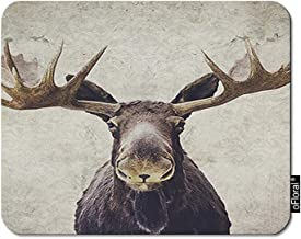 oFloral Moose Gaming Mouse Pad Brown Buck Elk Male Head Horn Alces Wildlife Decorative Mousepad Rubber Base Home Decor for Computers Laptop Office Home 7.9X9.5 Inch