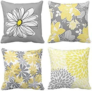 BJYHIYH Decorative Throw Pillow Covers 18x18Grey and Yellow Flowers Cushion Cover Soft Polyester Square Throw Pillow Case for Living Room Sofa Couch Bed Pillowcases Set of 4