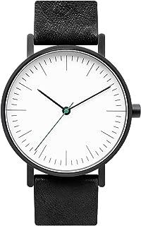 B001 Black Leather Stainless Steel Swiss Quartz Analog Unisex Watch, Matte Black Case