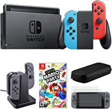 Nintendo Switch 32 GB Console w/Neon Blue and Red Joy-Con (HACSKABAA) Super Mario Party + Joy-Con Charging Dock + 2-Pack Screen Protector + Hard Shell Travel Carrying Case (Black)