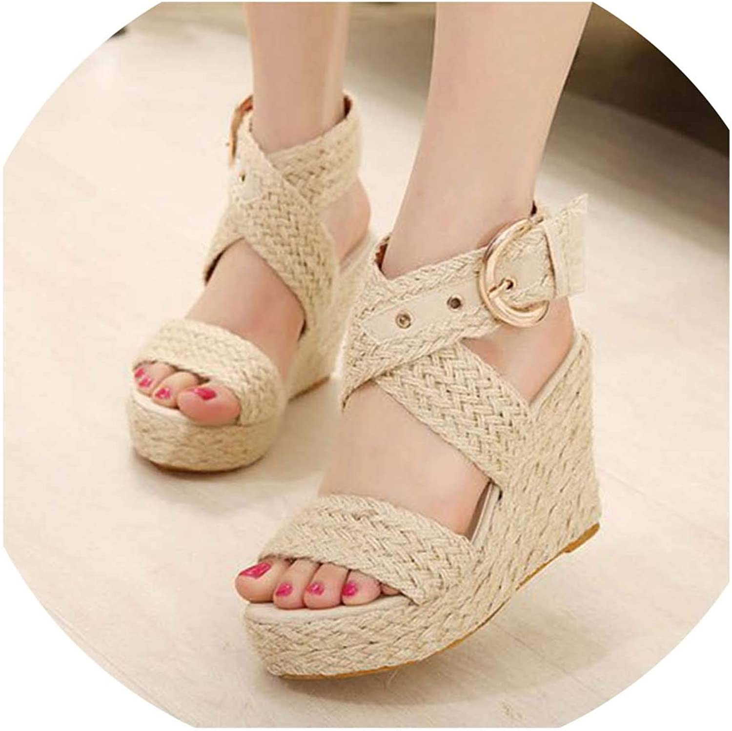 HuangKang Summer Women shoes Platform Wedges Sandals Hemp Stripe Women's Flat Sandals Word Buckle with Roman shoes