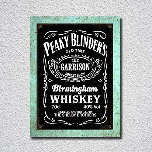 Peaky Blinder's Birmingham Whisky Cartel de pared de metal obra de arte vintage advertencia paisaje colgante Bar Fiesta de cumpleaños Navidad Regalo