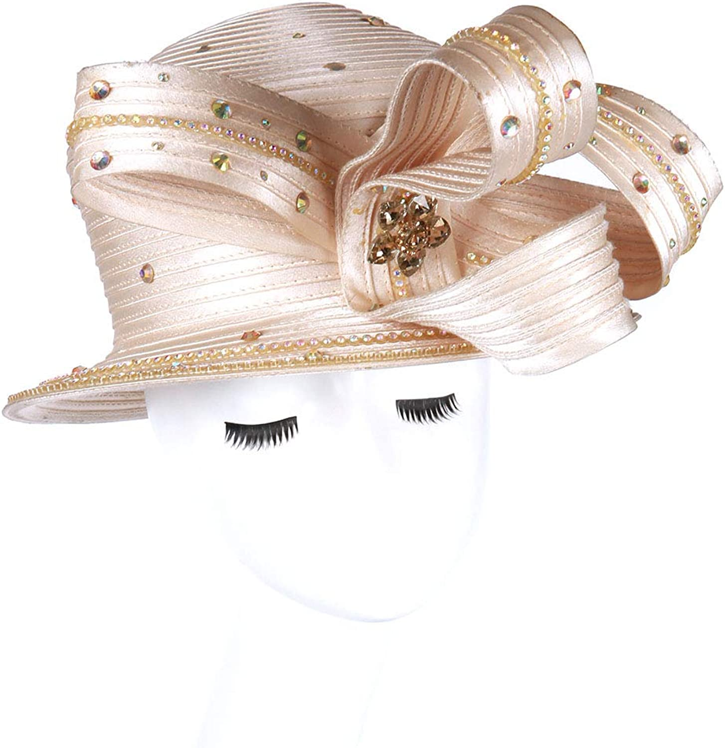June's Young Women Hat Church Hats for Women Satin Hat Ribbon Bright color