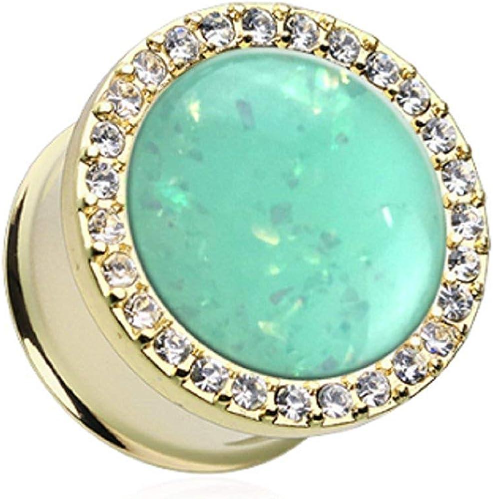Covet Jewelry Golden Mint Opal Elegance Multi-Gem Ear Gauge Plug