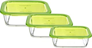 Luminarc Rectangle Food Container Set with Light Green Lid - 3 Pieces