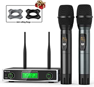 Fifine Wireless Microphone System, Two Handheld Dynamic Cordless Mic and Dual Channel Receiver, 50 Selectable UHF Frequency for Karaoke Singing Party,Church,DJ,Wedding,School Presentation.(K040)