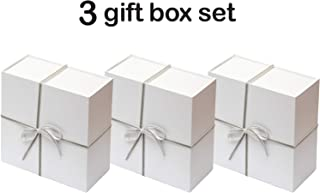 Collapsible Gift Box Set with Magnetic Closure (8x8x4, White/Grey)