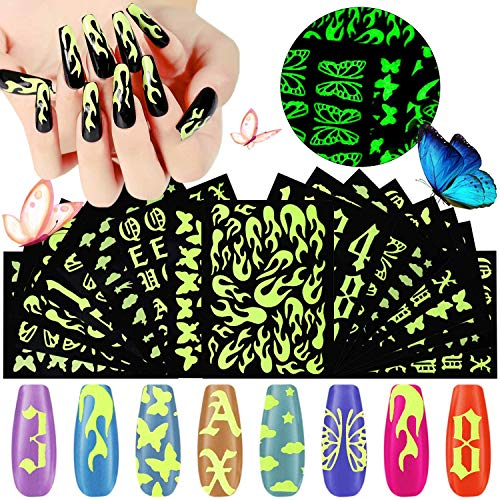 Kalolary 18 Blatt Luminous Nail Art Stickers, 3D Fluoreszierende Selbstklebende Nagelaufkleber Schmetterling Holographische Flamme Alphabet Nagellack Aufkleber Leuchten Im Dunkeln Zur Nageldekoration