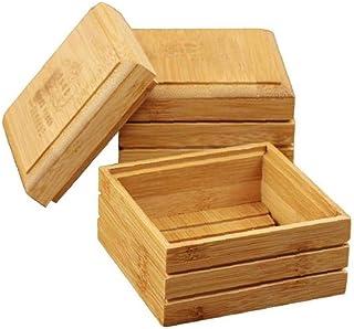Savon Bambou en bois naturel Porte-savon plat de stockage boîte de rangement pour salle de bains douche de savon Éponges