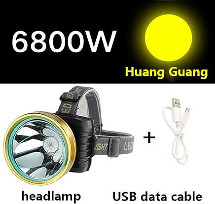 DJSkd Outdoor Waterproof Headlights Glare Head-Mounted Flashlight Super Bright Night Fishing Fishing Miner's Lamp (Color : Yellow Light 6800W)