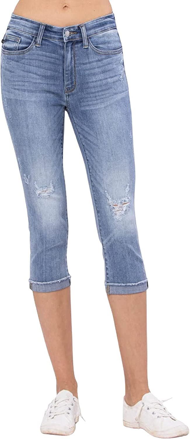 Judy Blue Raw Hem Mid-Rise Light Wash Destroyed Skinny Capris! Your New Favorite Summer Skinnies! (Style: 82249)