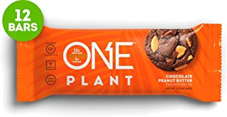 ONE Plant Protein Bars, Chocolate Peanut Butter, Gluten Free Protein Bars With 12g protein & Only 1g sugar, Guilt-Free Snacking for High Protein Diets, 1.59 Oz (12 Pack)