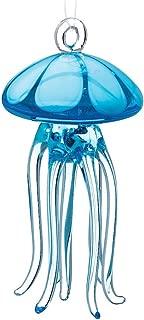 GALLERIE II Blue Jelly Fish Sea Life Tropical Coastal Beach Summer Art Glass Christmas Xmas Decorative Hanging Ornament