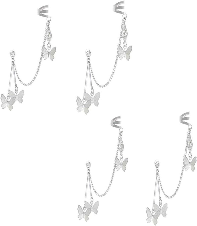Manufacturer direct delivery 4Pcs Asymmetrical Star Butterfly Chain Earr Stud Ear Cuff Tassel Cheap sale
