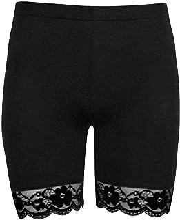 Rimi Hanger Womens Scallop Lace Trim Gym Shorts Viscose Active Shorts Cycling Hot Pants Small/X Large