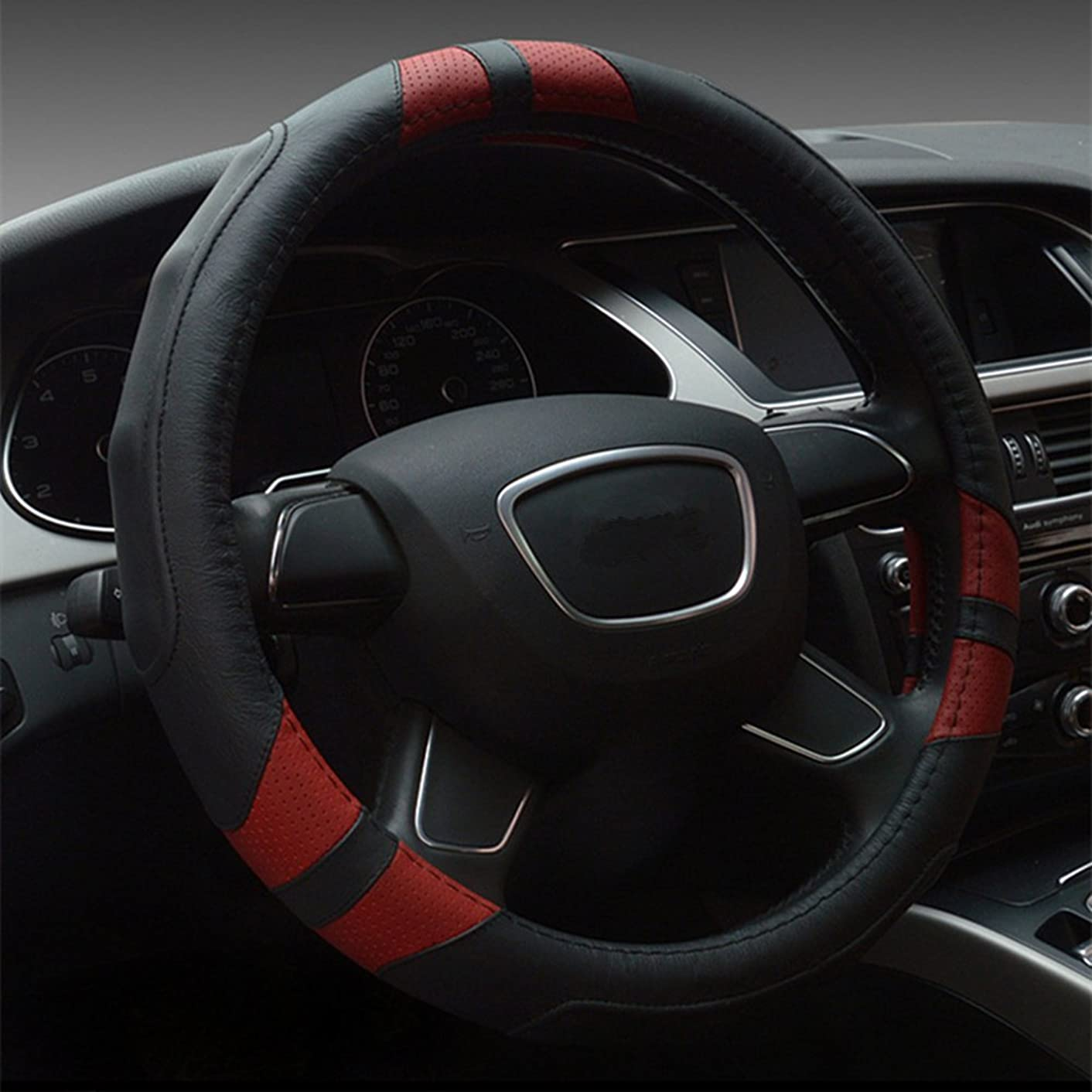 Dee-Type Leather Steering Wheel Cover Universal 15 inch Black & Red