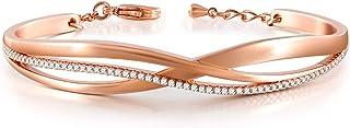 QLEESI Bracelet en or Rose pour Femme, Bracelets de Manchette Réglable Zircone 5A,Bijoux Bracelet Femme Cadeau Fête des Mè...