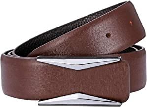 Suit Pants Belt Men's Comfort Casucal Leather Belt with Automatic Click Buckle Casual Belt (Color : Coffee-1, Size : 125CM)