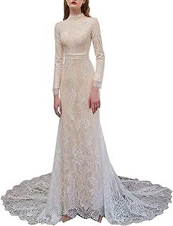vannawong - Abito da sposa a maniche lunghe, con pizzo floreale, scollo a V, con chiusura lampo, elegante, taglia XL