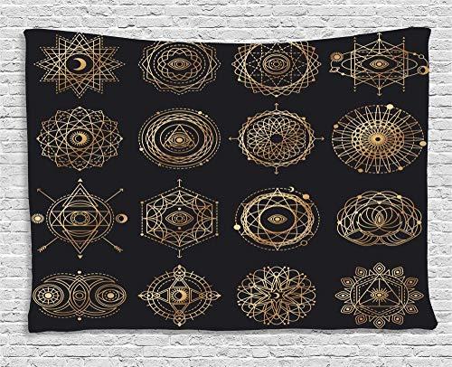 QIAO Tapices del Sol y la Luna Formas de Geometr¨ªa Boho Redondo Mandala Motivos Oculto Alquimia Amplio Colgante de Pared para Dormitorio Sala de Estar Dormitorio Amarillo Azul