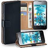 MoEx Premium Book-Hülle Handytasche passend für Huawei Ascend Y300 | Handyhülle mit Kartenfach & Ständer - 360 Grad Schutz Handy Tasche, Schwarz