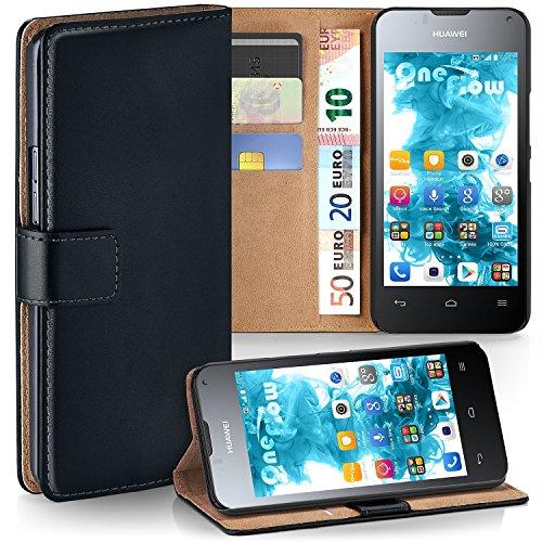 MoEx Premium Book-Case Handytasche kompatibel mit Huawei Ascend Y300 | Handyhülle mit Kartenfach und Ständer - 360 Grad Schutz Handy Tasche, Schwarz