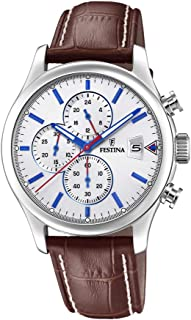 Festina F20375/1 Crocodile Embossed Leather Round analog Watch for Men - Brown