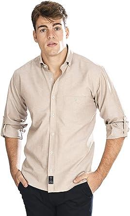 Camisa Oxford Manga Larga de Hombre en Beige: Amazon.es: Ropa