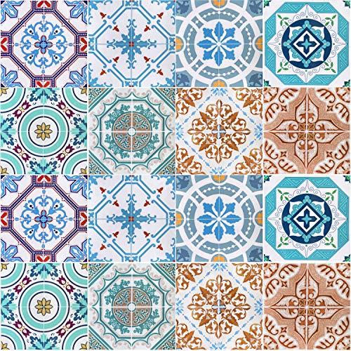 Profesticker 16 Vinilo Azulejo Adhesivo Mural 2D PVC Auto-Adhesivo Baldosa Cuadrado Pegatina Pared Revestimiento Decorativo Cocina Baño Impermeable (15 x 15 CM)