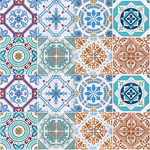 16 Vinilo Azulejo Adhesivo Mural 2D PVC Auto-Adhesivo Baldosa Cuadrado Pegatina Pared Revestimiento Decorativo Cocina Baño Impermeable (15 x 15 CM)