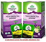 Organic India Tulsi Green Jasmine 25 Tea Bags (Pack of 2) with 2 Sweet Lemon Samples