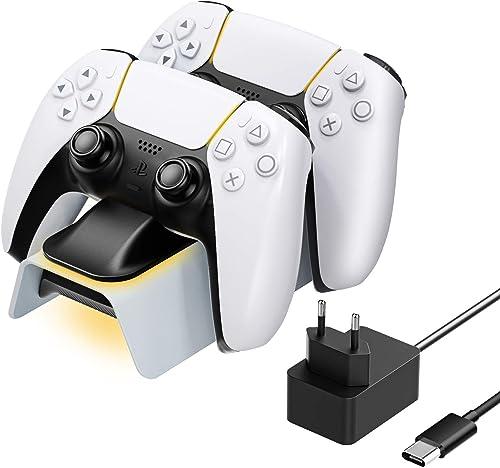 MoKo Chargeur Compatible avec Playstation 5 Manettes sans Fil DualSense, Station de Charge Accessoire PS5 Support à D...