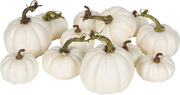 One Holiday Way Artificial White Pumpkins Wedding Decor Fall Table Decoration 12 Piece Set