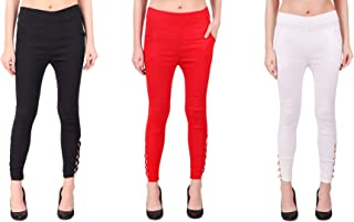 KIBA RETAIL Women's Ankle Design Jegging Comfortable and Stretchable Casual Wear Jegging, Combo (Pack-3)_Black/Red/White