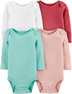 Carter's Baby 4 Pack Long Sleeve Bodysuit Set, Girls Solid, 3 Months
