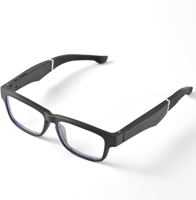 ZhaoZC Flat Glasses, Wireless Bluetooth Headset 5.0 Binaural Mini Call Mobile Phone General Smart Glasses, Compatible Model, Detachable Lens Unisex,Clear