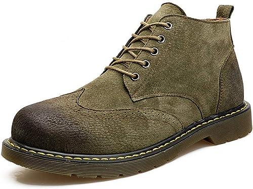 Fuxitoggo Bottes d'hiver en Coton pour Hommes, Hommes, Cuir, Daim, Bottes de Neige antidérapantes, Chaussures de Sport Haut de Gamme pour Hommes (Couleuré   Vert, Taille   43EU(8.5UK))  80% de réduction