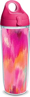 Tervis 1353334 Etta Vee-Pretty Insulated Tumbler with Wrap and Passion Pink Lid, 24oz Water Bottle, Clear