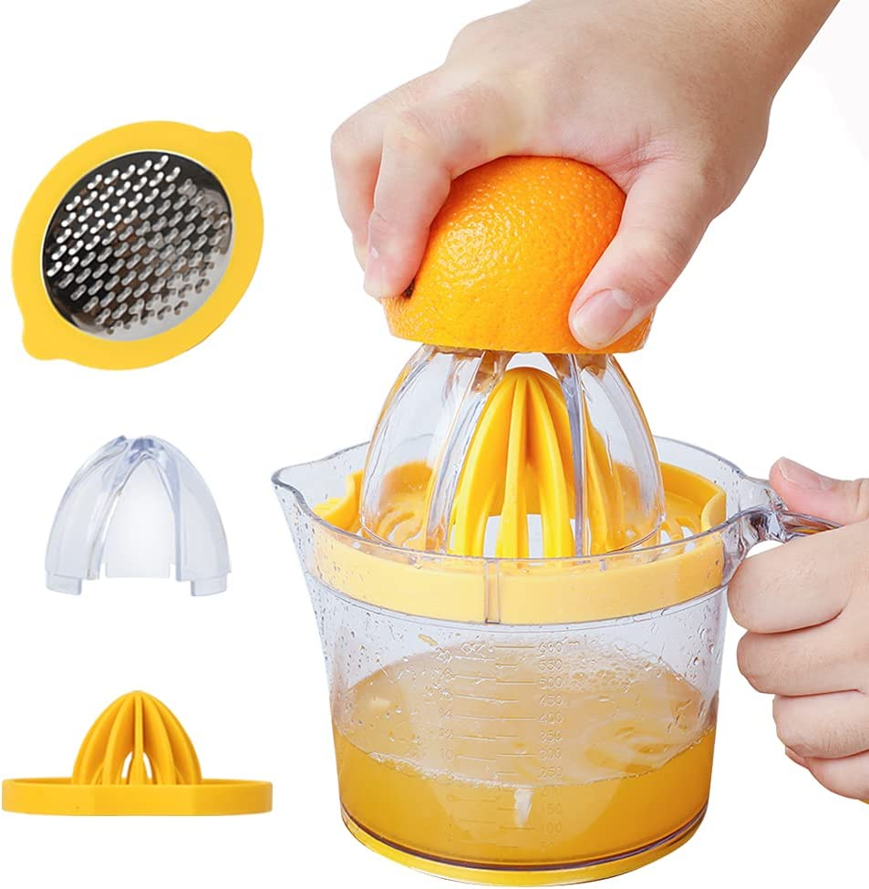 4-in1 Orange Lemon Juice Squeezer Multifunction Hand Juicer with Built-in Clear Measuring Cups, 2-Way Grater, Egg Separator, and TPR Handle