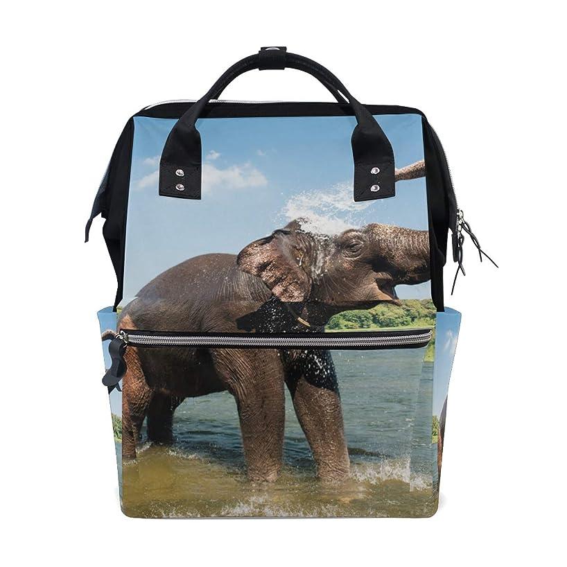 African Elephant Playing Water School Backpack Large Capacity Mummy Bags Laptop Handbag Casual Travel Rucksack Satchel For Women Men Adult Teen Children