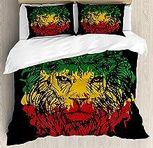 Juego de sábanas Rasta de 3 piezas Juego de funda nórdica, colores de la bandera de Etiopía en cabeza de león incompleta de Grunge con fondo negro, juego de fundas de edredón / Qulit de 3 piezas con 2