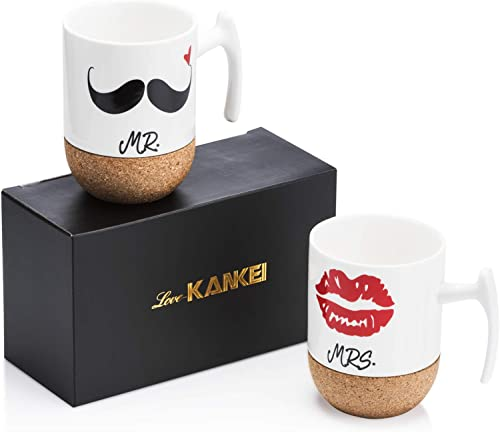 Love-KANKEI Mr Mrs Tasses à Café En Porcelaine Avec Le Siège En Bois, 300 ml, Cadeau de Noël, Mariage, Couple ou Anni...