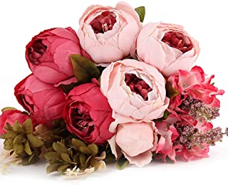 Kimura's Cabin Vintage Peony Artificial Flower Fake Silk Peony Flowers Bouquet,for Home Wedding Party Decor (Dark Pink)