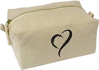 'Stylised Heart' Canvas Wash Bag / Makeup Case (CS00019612)
