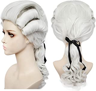 JoneTing Lawyer Wig for Men Long Wavy Synthetic Wig Lawyer Costume Silver Whiter Wigs