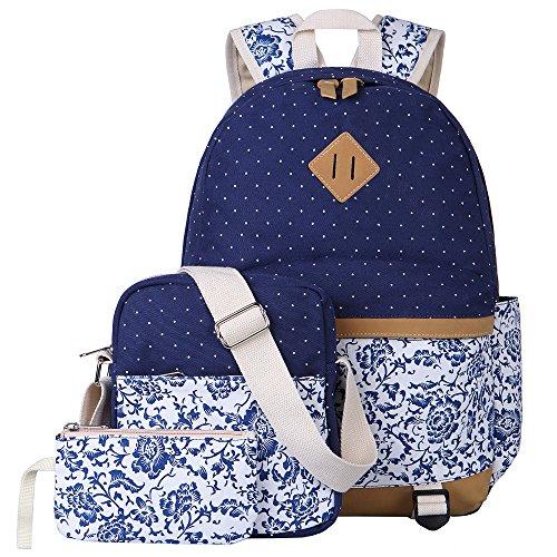 Zaino Casual Scuola Set 3pcs Daypacks / Canvas Backpack Tela Zaini Ragazza / Donna+ Messenger Bag + Purse (Nero)