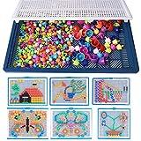 nuosen 296 PCS Mushroom Nails Set, DIY Peg Pegboard Toys Mosaic Toys for Children (Random Colors)