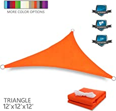Tuosite Terylene Waterproof Sun Shade Sail UV Blocker Sunshade Patio Equilateral Triangle Knitted 220 GSM Block Fabric Pergola Carport Awning 12' x 12' x 12' in Color Orange