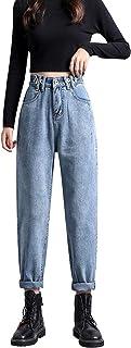 Katenyl Pantalones Vaqueros de Cintura Alta de Talla Grande de otoño para Mujer, Cintura elástica, Cintura Ajustable, Suel...